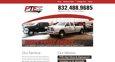 PTE Hotshot and Delivery Web Design